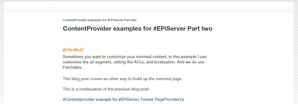External RSS ContentProvider example for #EPiServer, Part three