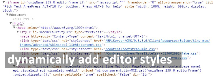 Context based CSS in WYSIWYG TinyMCE editor for EPiServer
