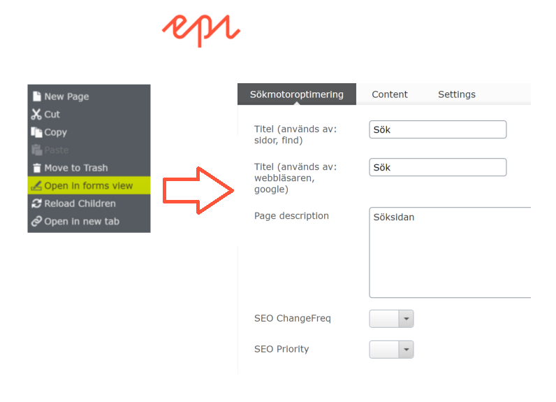 Open in forms view from page tree in #episerver