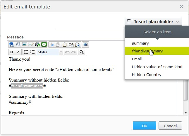 Customize Summary in emails from #Episerver Forms